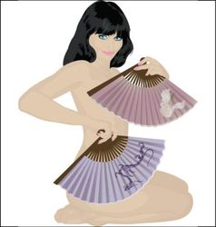 Nude girl with fans vector
