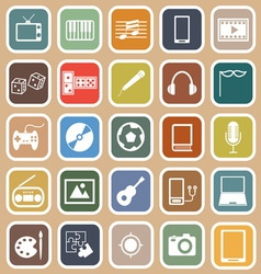 Entertainment flat icons on orange background vector