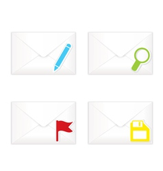 White closed envelopes with flag mark icon set vector