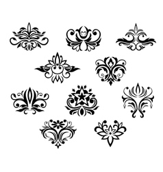 Set of black and white floral elements vector