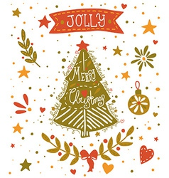 Christmas sketchy greeting card with a christmas vector