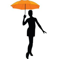 Girl with umbrella - vector