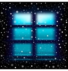 Snow night large window vector