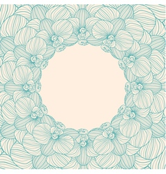 Orchid round frame background vector