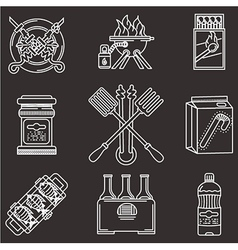Barbecue white line icons vector