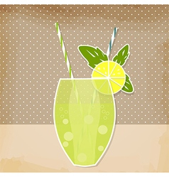 Cocktail lemon lime background vector