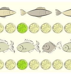 Seamless background with fish and lemon vector
