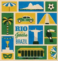 Retro rio icons vector