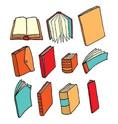 Colorful cartoon book and printed media set vector