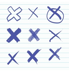 Group of hand-drawn cross vector