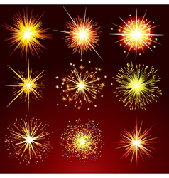 Brightly fireworks isolated design elemen vector