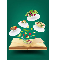 Creative recipe book concept idea vector