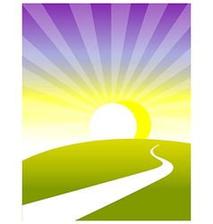 Curved path land sunrise vector