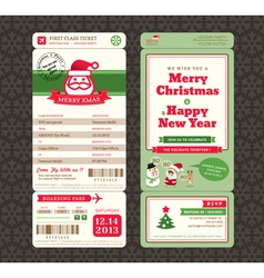 Christmas card design boarding pass ticket vector