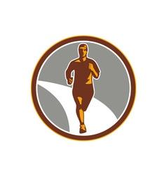Marathon runner front circle retro vector