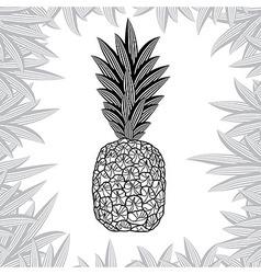 Pineapple fruit black and white design vector