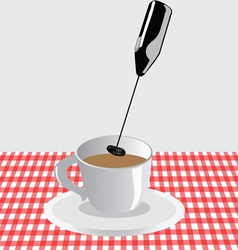 Frother for milk and coffee vector