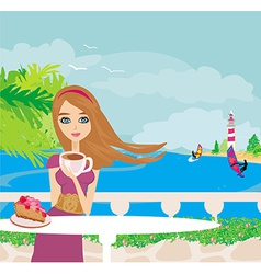 Cafe by the sea vector