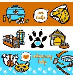 Veterinary banners set vector