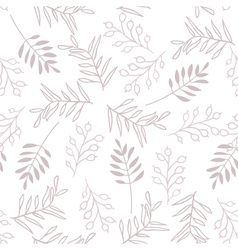 Leaves and berry seamless brown pattern vector
