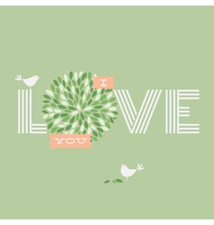 Greeting card with two love pretty birds vector