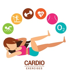 Cardio icon with women exercises vector