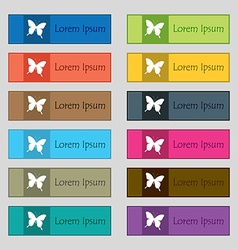 Butterfly icon sign set of twelve rectangular vector