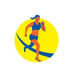 Female triathlete marathon runner retro vector