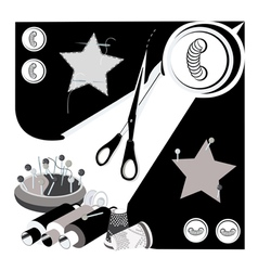 Set of sewing tools vector
