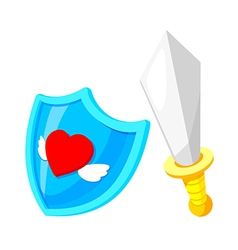 Icon shield and knife vector