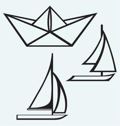 Origami paper ship and sailboat sailing vector