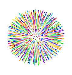 Rainbow fireworks on white background vector