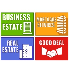 Set colorful real estate emblems vector