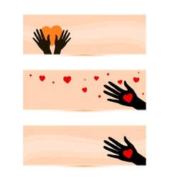 Banners templates with hands with hearts vector