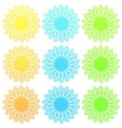 Funky retro floral sun set vector