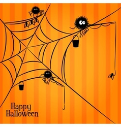 Web spiders and fishing in halloween style vector