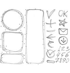 Set of figures banners arrows symbols outline vector