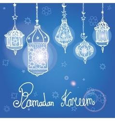 Lantern of ramadan kareemdoodle greeting card vector