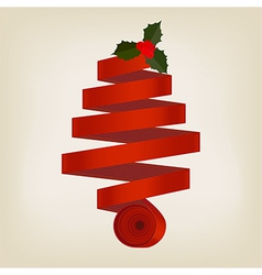 Red ribbon christmas tree vector