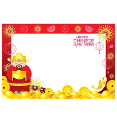 Chinese new year frame with chinese god vector