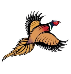 A stylish multi-colored flying pheasant vector