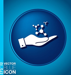Hand holding the atom molecule symbol icon of vector