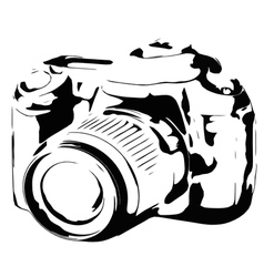 Digital camera silhouette black and white vector