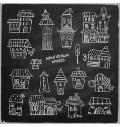 Chalkboard fairy tale houses vector