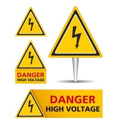 High voltage signs vector