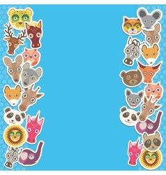 Funny animals card template blue background vector