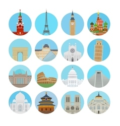 World landmarks icons vector