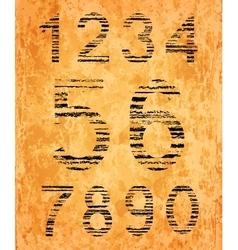 Number set from black coal texture vector
