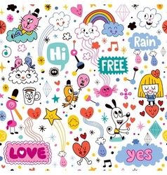 Hand drawn sketchy fun cartoon seamless pattern vector