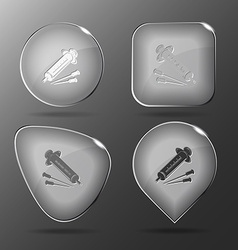 Syringe glass buttons vector